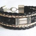 """[Nr. 16] Mehrreihiges Armband mit Mittelteil """"antik"""" und Lederbändern 149€"""