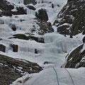 Anouck dans la seconde longueur, cascade de Praz Varin