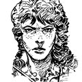 Estudios para un personaje de cómic. Tinta.