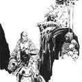 Estado intermedio de ilustración de Hellboy. Pincel.