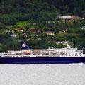 Auch am letzten Abend fuhr noch ein Kreuzfahrtschiff durch den Fjord.