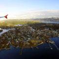 Die Küste von Norwegen aus der Vogelperspektive.