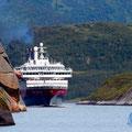 Die MS Kong Harald fährt in den Trollfjord ein.