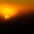 Dann gingt die Sonne im Nebel unter.
