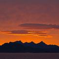 Abschied von den Lofoten mit einem Sonnenuntergang.