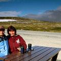 Kaffeepause bei 6 ° C auf der Hardangervidda.