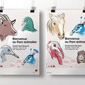 Ville de Genève | Parc animalier du Bois de la Bâtie | affiches | illustrations: Nicole Conus.