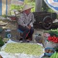 Gemüse und lebende Maden