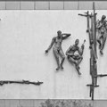 Figürliche Außenwandgestaltung (1974), Stahl verzinkt, Südwand des ehemaligen Fernmeldeamtes, Franziskanerstraße, Ecke Gerhart-Hauptmann-Straße