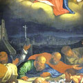 Gügelkirche und die Bamberger Kirchen sind im Hintergrund des Hochaltargemäldes zu entdecken