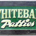 Retro faux antique sign,- Whitebait Patties - Who can resist?