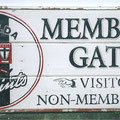 Retro faux antique sign,- Members Gate, St Kilda