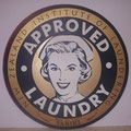 Retro faux antique sign,- Approved Laundry