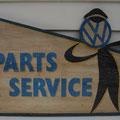Retro faux antique sign,- VW parts service