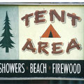 Retro faux antique sign,- Tent Area