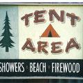 Retro faux antique sign,- Tent Area