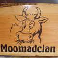 Moomadclan, sandblasted timber with stain
