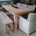 Sessel Granada mit Tisch 220x100cm und ebenso langer Sitzbank aus Recycle-Teak