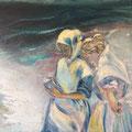 Lesende am Meer | Acryl/Pigmente auf Leinwand | 70 x 50 cm