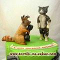 Бельчонок и котенок Банановый бисквит, творожный крем, цукаты. Мастика 2,8кг