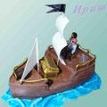 Пиратский корабль Классический бисквит с пропиткой, йогуртовый крем с бананами и киви. Отделка – мастика