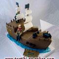 Пиратская шхуна 3 Ванильный бисквит, творожный крем с киви и бананами. 4кг