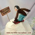 Сноубордист Творожно-слоеные коржи, карамельный крем-брюле, грецкие орешки. Мастика, белковый крем 3,2кг