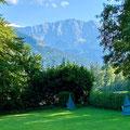 Blick vom Übungsplatz direkt auf die Alpen.