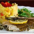 Meeräsche mit Chorizo-Oliven-Stampf