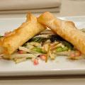 Cannelloni mit Graukäse auf Salat mit Kastanien,Birnen und Grantäpfelkernen