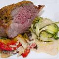 Lammkarree mit eingelegten Gemüse auf Parmesansoße 27.3.2010