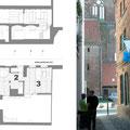 Grundrisse und Schnitt | Segel über Eingang mit Friedrichmotiv