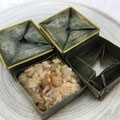 CHIMAKI : Steamed Sticky Rice with Chopped Shrimp and Vegetables wrapped in coconut leaves   ちまき