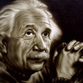 "Einstein 1999 (24""x36"") airbrush on canvas"