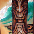 "BigIslandOceanTiki 2006 (48""x24"") acrylic on wood"