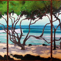 "SunIsShining,TheWeatherIsSweet/ kukio surf 2010 (24""x36"")3 acrylic on wood panel"