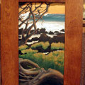 "HarborLefts 2009 (20""x46"") acrylic on wood framed in teak"