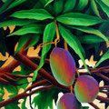 "UnderneathTheMangoTree 2008 (29""x67"") acrylic on wood framed in teak"