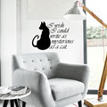 I wish I could write as mysterious as a cat vinyl wall art quote by Edgar Allen Poe.