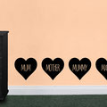 Mum, Mother, Mummy and Mama love hearts vinyl wall art from www.wallartcompany.co.uk