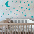 Moon and Stars Wall Decal turquoise wall art set