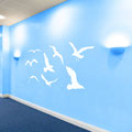 Eight seagulls vinyl wall art decals.