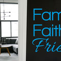 Family, Faith and Friends vinyl wall art sticker on a hallway wall.