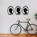 A set of family vinyl wall art stickers of the side portrait in a Victorian cameo broach.