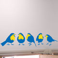 Five blue Robins with yellow chests, making a more quirkey design and a different element to add to an interior design project. These vinyl wall art stickers are long lasting and will not fade quickly if not places in direct sunlight.