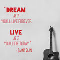 Dream like you'll Live Forever vinyl wall art quote from www.wallartcompany.co.uk