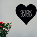 Sisters heart vinyl wall art family home decorating from www.wallartcompany.co.uk