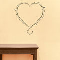 Wall art sticker heart with notes around the edge of the design.