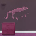 Leopard vinyl sticker for walls. Pink vinyl used on a dark purple wall.