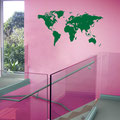 Green wall art World Map sticker for home decorating.